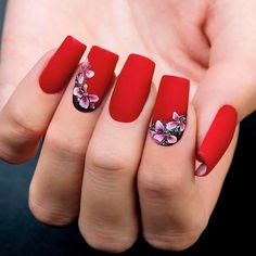 beautiful-flowers-nail-square-matte-red-3d Top 14 Beautiful Flowers Nail Design Nail Art Gel Nails 2018 gel nails Gel Nail Designs 2018 designs art acrylic 2018