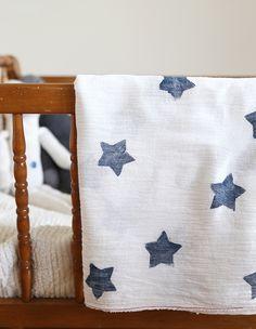DIY star hand printed baby swaddle blanket