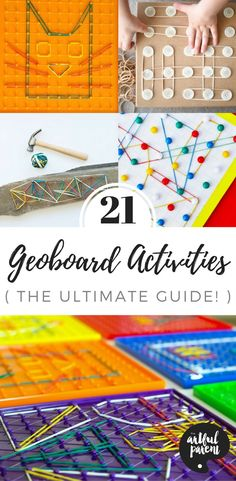 Lots of geoboard activities for kids include art, math, sensory, and more. Plus a variety of ways to make and use your own geoboards. via Artful Parent Art Activities For Toddlers, Learning Activities, Shape Activities, Learning Through Play, Fun Learning, Easy Art For Kids, Preschool Activities, Steam Activities, Fine Motor