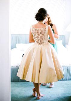Handmade vintage wedding dress | via 100 Layer Cake