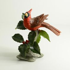 "Boehm Porcelain Sculpture 40600 ""CARDINAL WITH BERRIES"" Showroom New"