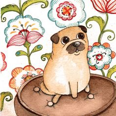 Original Pen ink watercolor Illustration Pug on a by theinkproject,