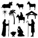 De Inzameling Van De Silhouetten Van De Geboorte Van Christus Royalty-vrije Stock Afbeeldingen - Afbeelding: 11188329