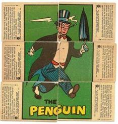 Batman Cards - 1966 Red Bat Penguin Puzzle Back
