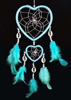 Heart-shaped Dream Catcher with Feathers Car or Wall Hanging
