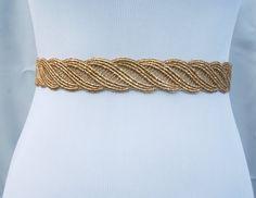 Gold lace sash bridal sash gold wedding belt by snestina on Etsy, $25.90