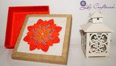 Caixa em MDF (madeira) trabalhada com tecido e patchwork embutido! Flor Mandala