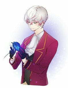 """""""Roses have thorns, like me. I love withe roses, they're my reflection. Mystic Messenger Unknown, Mystic Messenger Game, Messenger Games, Mystic Messenger Characters, Mystic Messenger Fanart, Anime Manga, Anime Guys, Manga Boy, Jumin X Mc"""