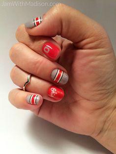 Go BUCKEYES!!!! I LOVE sporting my scarlet and grey nail wraps every football…