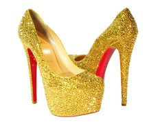 Christian Louboutin Daffodile Limited Edition Gold Crystal Pumps