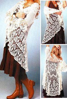 Crochet Sweater: Cardigan - Crochet Circular Cardigan - Crochet Lace