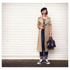 simple☆ trenchcoat#midwest denim#sea sneakers#converse  fashion#outfit#ootd#coodinate#simple#今日の服#コーデ#コーディネート#マリン#トラッド