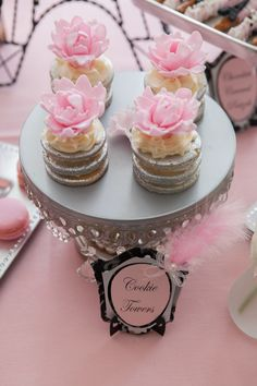 Gorgeous stacked cookies at a French Paris baby shower!  See more party ideas at CatchMyParty.com!