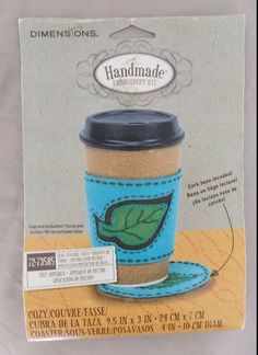 Dimensions Coffee Cozy Felt Embroidery Kit Cork Base Blue Brown Leaf 72-73585  #Dimensions