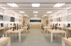 #056 Modern Wooden Apple Store Design Phone Store Design - Custom Mobile Cell Phone Shop Interior Design Cell Phone Store, Diy Storage Shelves, Store Design, Modern, Interior Design, Table, Furniture, Home Decor, Nest Design