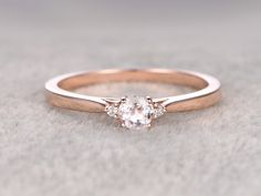 3 stones Morganite Engagement ring Rose gold,Diamond wedding band,14k,5mm Round Cut,Gemstone Promise Bridal Ring,Plain gold matching band by popRing on popRing