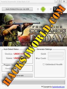 Frontline Commando: D-Day Hack working with iOS and Android download only from: http://hacks4world.com/frontline-commando-d-day-hack-android-ios/  Frontline Commando: D-Day Hack Features: Gold generator War Cash generator Unlimited Health  Frontline Commando: D-Day Hack working with iOS and Android download only from: http://hacks4world.com/frontline-commando-d-day-hack-android-ios/