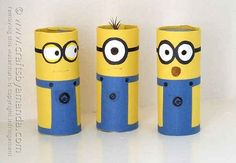 Cardboard Minions | 22 Cool Kids Crafts You Can Make From Toilet Paper Tubes