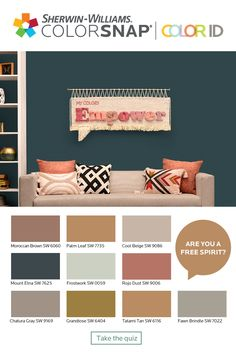 If you're a natural-born wanderer, always planning the next adventure, you're probably a Free Spirit. Interior Paint Colors For Living Room, Room Paint Colors, Paint Colors For Home, Living Room Paint, Wall Colors, House Colors, Home Paint, Good Living Room Colors, Family Room Colors