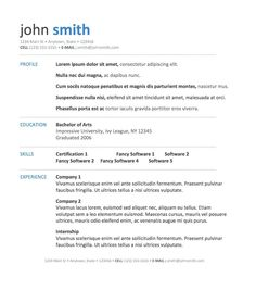 resume templates free for high school students