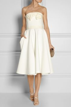 Lanvin|Grosgrain-trimmed piqué dress|NET-A-PORTER.COM