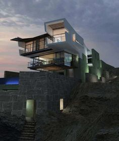 Cliff-Hanging Peruvian Beach House (12 pics) - Lefevre House by Longhi Architects