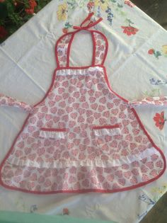 Valentine Hearts n Bows Child Apron OOAK by VintiqueDesigns, $25.00