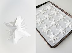 Pipe meringue into snowflakes. | 30 Adorable Treats To Make When It Snows