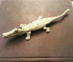 """Vintage brass alligator paperweight /nut cracker. 10"""" long $18 shipped #brassisback #brassanimals #shopthealist"""