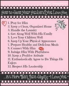 How to Show Your Husband You Love Him --- Free Resources