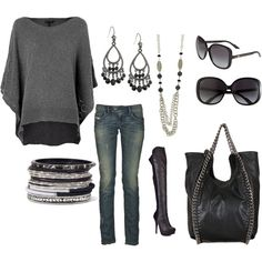 I Like This Rocker Chic. Switch The Boots from Heeled Boots To Black Flat Boots For A More Comfy Casual Look