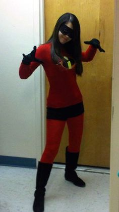 Violet from The Incredibles Halloween costume: red tights, red shirt, black shorts, add logo, black gloves