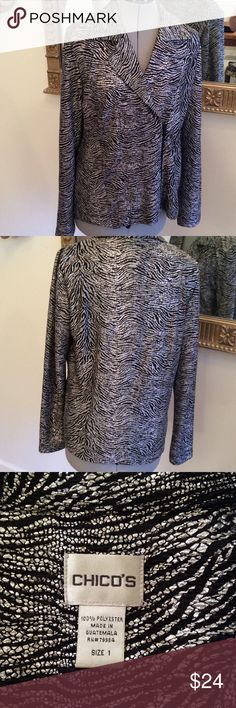 Chico's silver shine Thin zip up Chicos jacket / top, size 1, which is an 8/10 and really snazzy with black jeans or skirt. Chico's Jackets & Coats Blazers