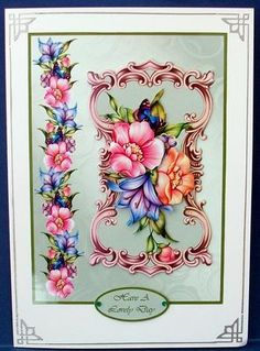 Spring Florals on Craftsuprint designed by Susan Donaghie - made by Cheryl French - Printed onto glossy photo paper. Attached base image to card stock using ds tape. Built up image with 1mm foam pads. Added peel offs and gems. - Now available for download!