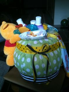 winnie the pooh honey pot diaper cake - Google Search