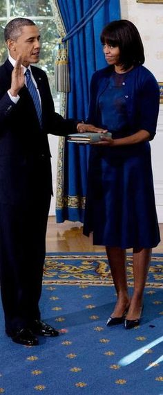 First Lady Michelle Obama wears Blue Reed Krakoff Dress For Swearing In of her husband President Barack Obama