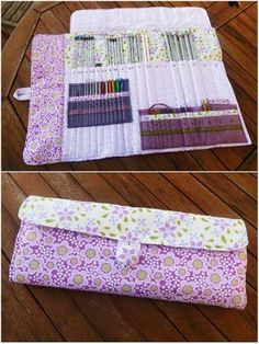 28 Ideas for knitting needles case bags 28 Ideas for knitting needles case bags Sewing Kit, Sewing Hacks, Sewing Tutorials, Sewing Crafts, Sewing Patterns, Crochet Hook Case, Knitting Needle Case, Knitting Needles, Diy Knitting Needle Storage