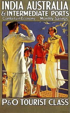 P O tourist class poster, 1928 #travel #vintage #poster