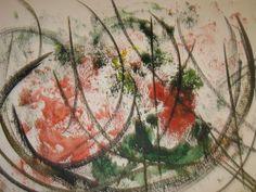 Pintura sobre papel em tinta acrílica. Grafismos orientais são presentes na obra. Recebeu moldura branca, paspatur e vidro para proteção. Delicadeza e bom gosto. Tamanho; 29 cm x 42 cm (pintura) e com moldura: 38 cm x 51 cm.