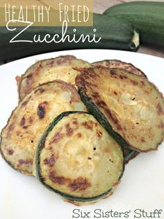 Healthy Fried Zucchini on SixSistersStuff.com