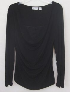 Chico's Travelers Black Top Ruched Lace Insert Slinky Long Sleeve Women Large 2 #Chicos #Blouse