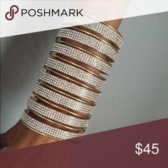"Amazing designer 4 1/2"" high diamanté cuff Hundreds of clear diamanté stones on a designer 4 1/2"" high gold tone cuff. Incredible. new! Jewelry Bracelets"
