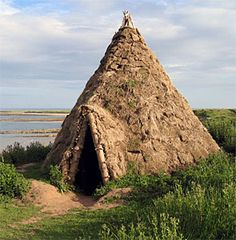 A reconstruction of Howick Mesolithic house.