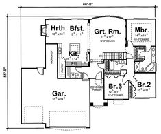"Floor plan. 1780 sq ft Ideally, convert garage to two-car, put that ""workshop"" space back into the house so the kitchen can be larger and the pantry less awkward. I do wish it had an additional powder room or flex space, but overall I like this."