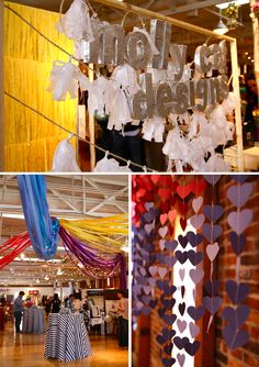 A chandelier of streamers, a waterfall of paper hearts and the COOLEST fake flower centerpieces I have ever laid eyes on.... Molly Cat Designs rocked the design & decor at Borrowed Event !! More details on the blog!
