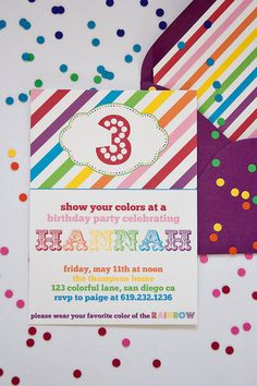 I like the design on this one. Rainbow Birthday Invitation- Printable Paiges of Style from Etsy