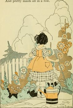 Mary Mary quite contrary nursery rhyme illustration by Lucille Enders Children's Book Illustration, Nursery Rhymes, Aesthetic Art, Vintage Art, Vintage Images, Art Inspo, Flower Art, Les Oeuvres, Illustrators