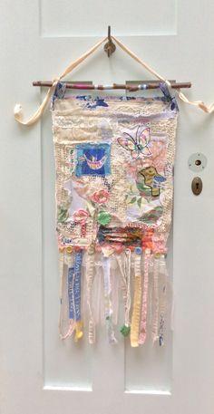 Pretty Shabby Chic Banner Wall Hanging Prayer Flag Boho