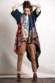 boho winter outfit, long cardigan jacket, Bohemian fall layering