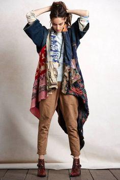 boho winter outfit, long cardigan jacket, Bohemian fall layering